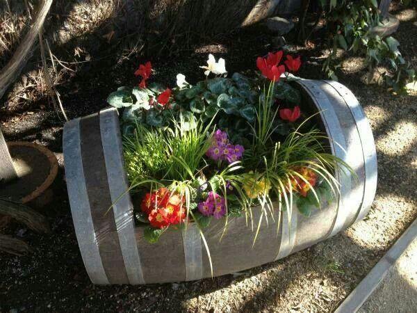 Wine Barrel Garden Basket