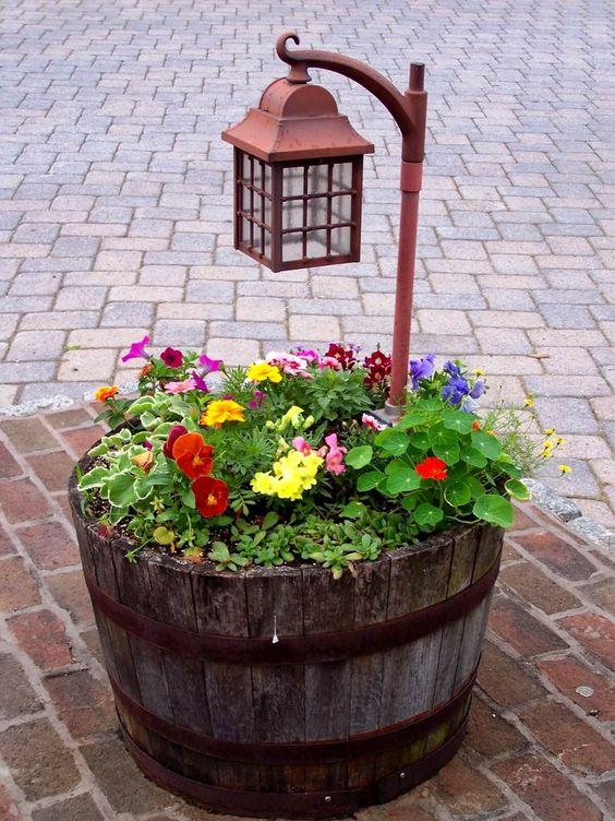 European Wine barrel pot plant