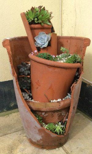Broken Terracotta Pot used as a fairy/miniture garden
