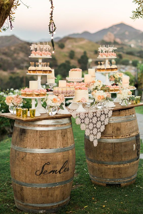 Wine barrel wedding or party table feature