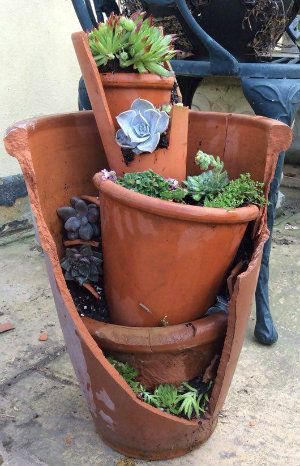 Fairy/mini garden in a broken pot