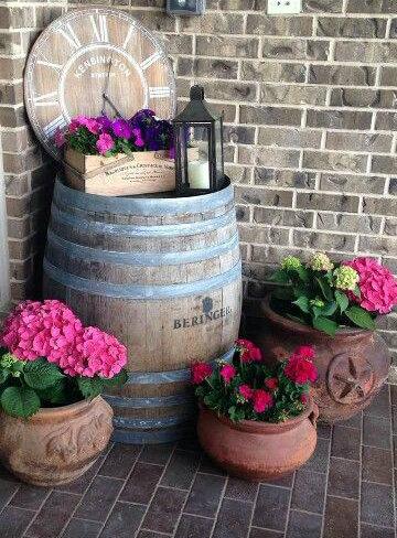 Vintage wine barrel feature