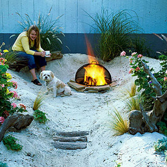 Inspiring backyard beach style with sand and fire pit