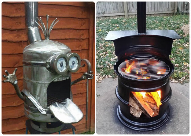 Recylced Minion Fire Pit and old wheel rims upcycled into a Fire Pit