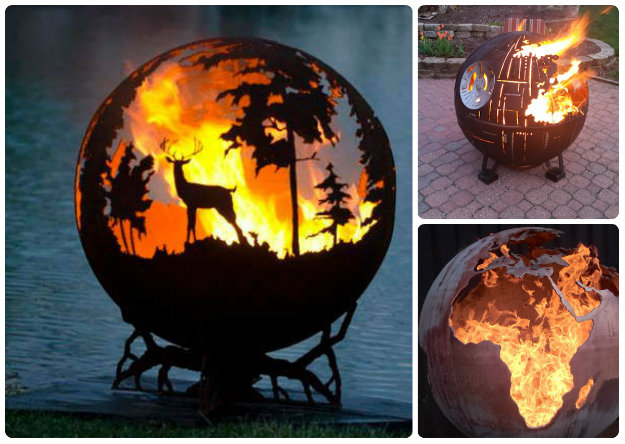 Globe shaped Fire Pits with various designs