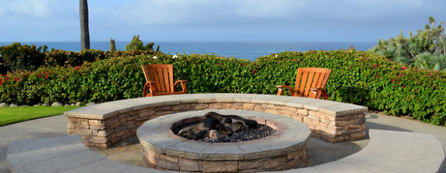 Stone Fire Pit in the garden with a wonderful sea view