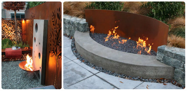 Wall side Fire Pits - great for smaller spaces