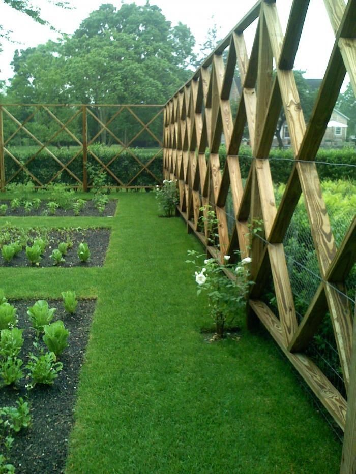 large latticed fence with a small wire backing