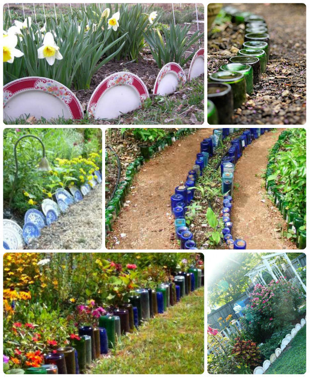 Collage of plates and bottles used as garden edging