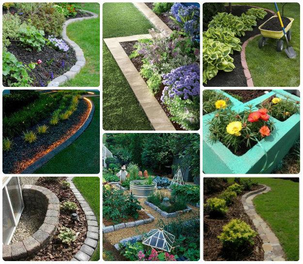 collage of stone garden edges
