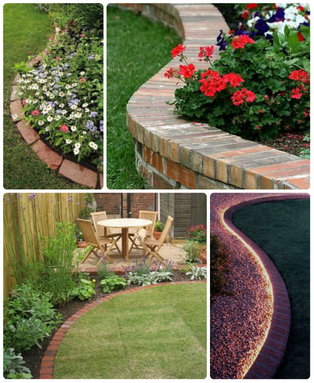 simple birck garden edging collage - Garden Bed Edging