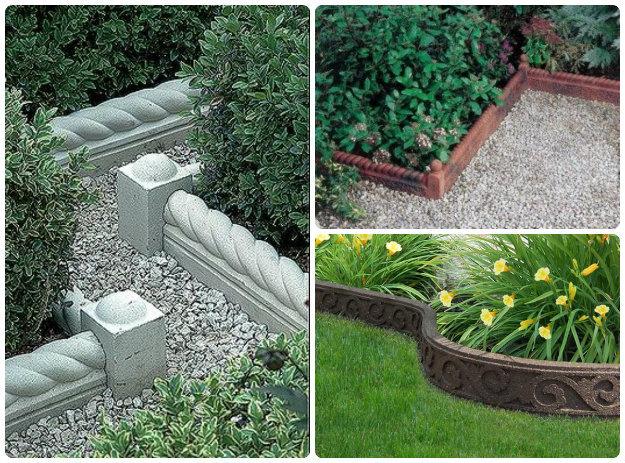 collage of decorative stone garden edging
