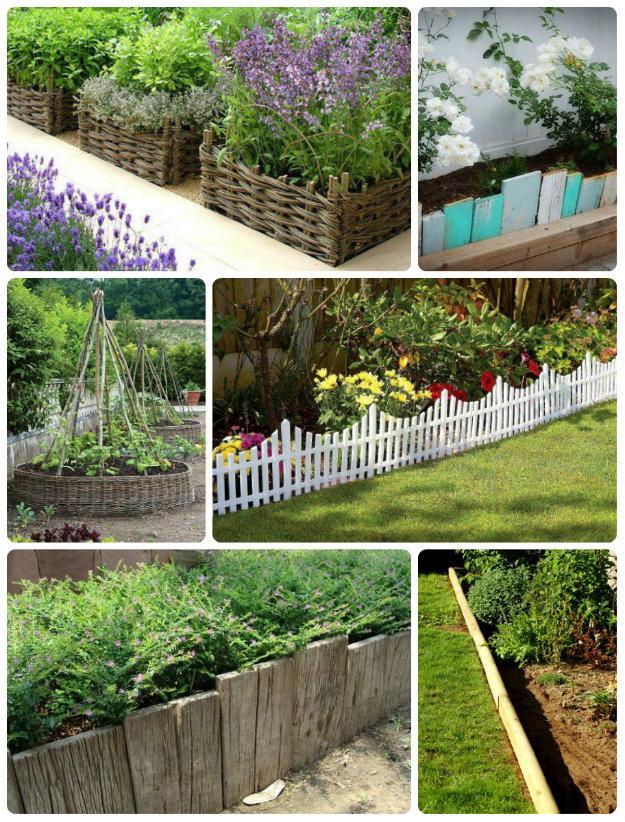 Collage of wooden garden edging
