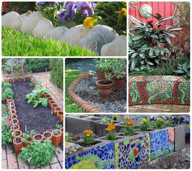Collage of creative garden edges inc shells, flowers pots and mosaic