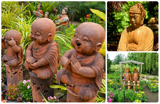 Terracotta coloured garden statues