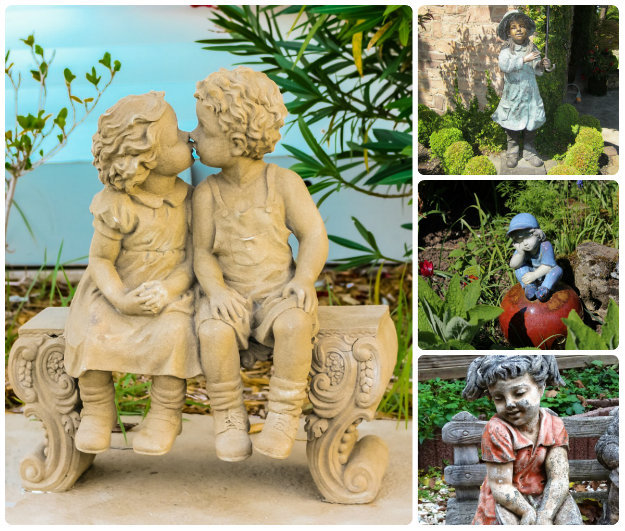 Garden statues of children
