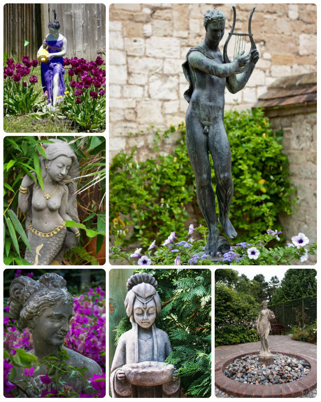 Collage of multiple garden statues
