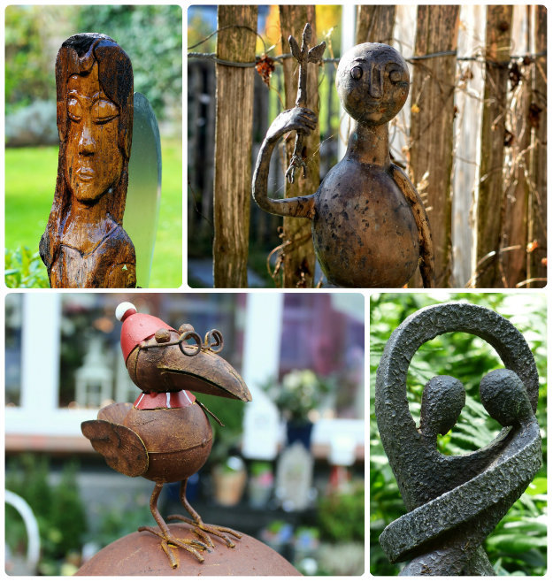 Mixture of unusual garden statues