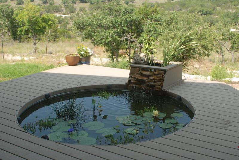 pond built into decking