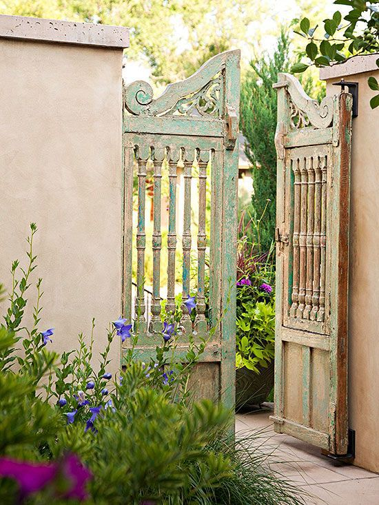 Rustic distressed wooden gate