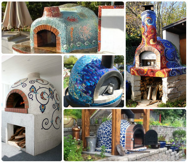 Collage of Mosaic pizza / stonebake ovens