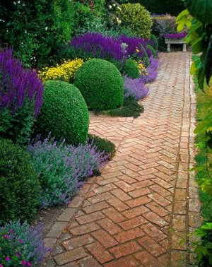 Red brick crazy paving path