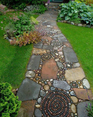 slabs, pebbles and stones make up a path