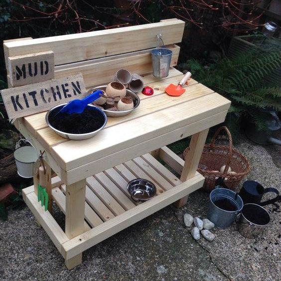 Simple Wooden Mud Kitchen