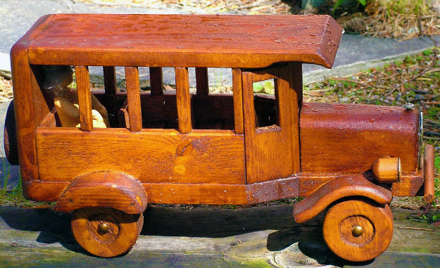Unusual Garden Ornament - wooder toy car