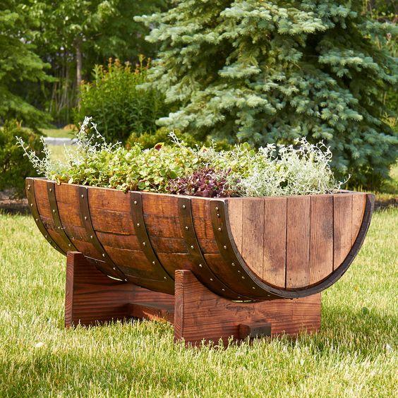 Wine barrel split garden bed