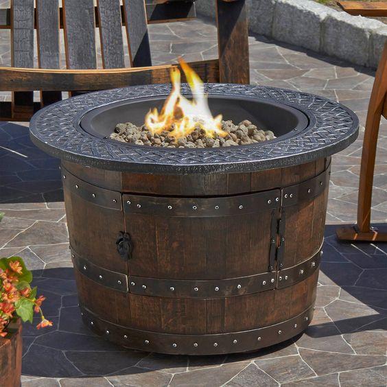 Wine barrel fire place