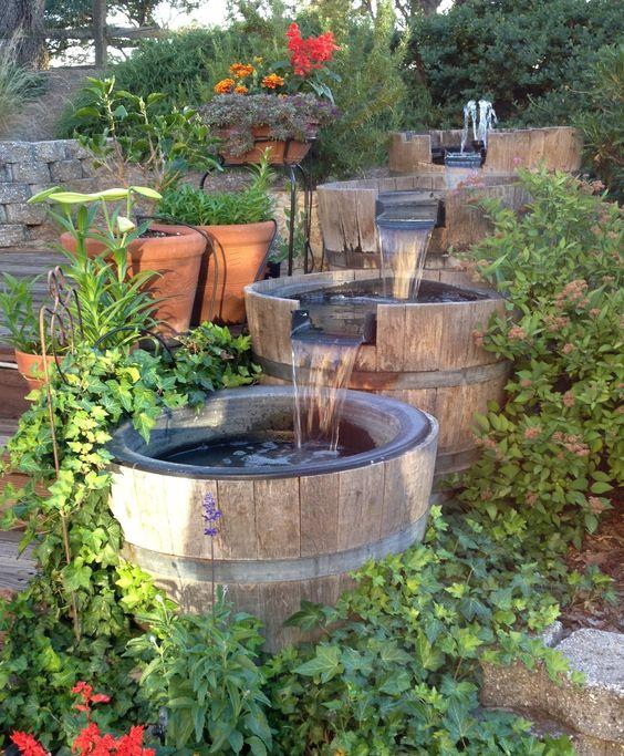 Wine barrel water feature