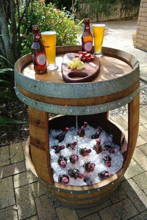 Wine barrel bar and esky