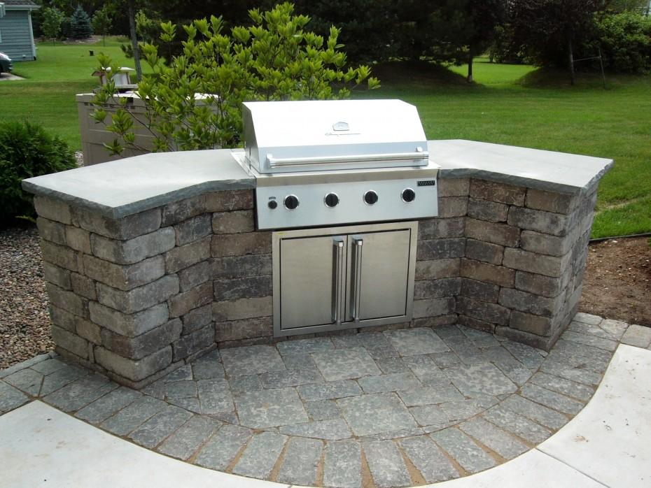 stone bbq patio garden