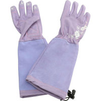 Hoselink Lilac coloured long leather gardening gloves