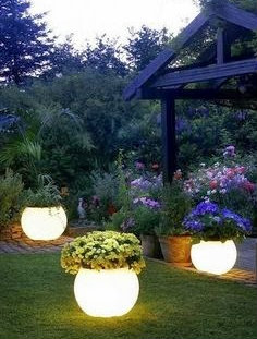 Flower pots with lights inside
