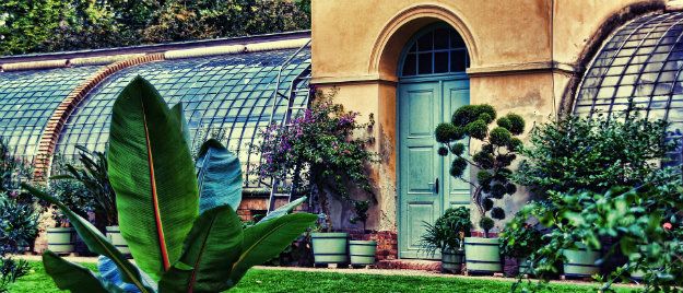 Huge greenhouse in botanical gardens