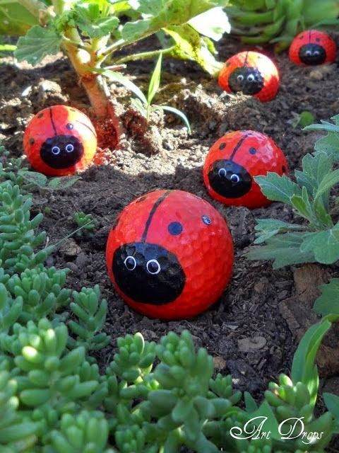 Cute lady bug golf ball ornaments to decorate your garden