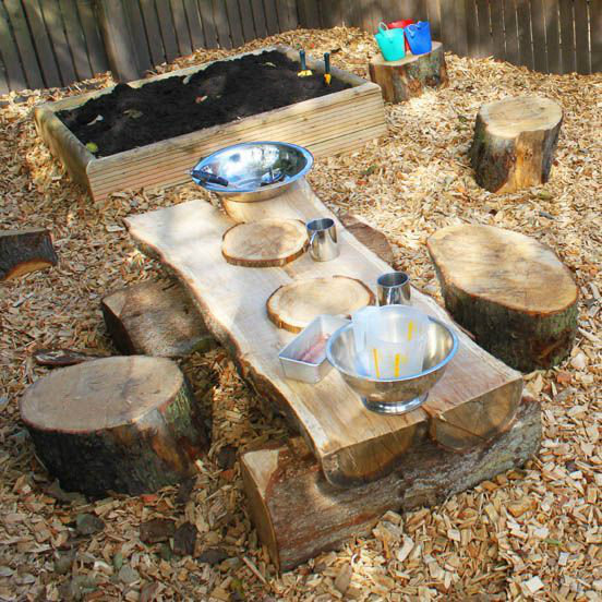 Rustic Mud Kitchen made from logs