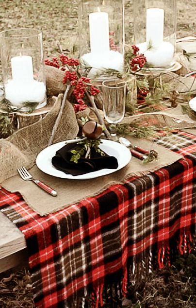 Outdoor picnic style rustic tablescape