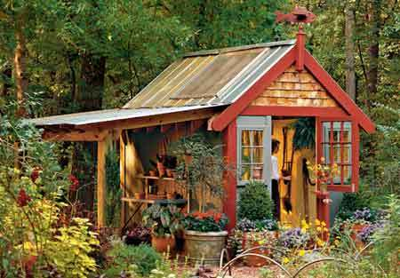 Rustic red and wooden shed
