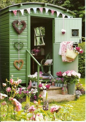 green painted shed