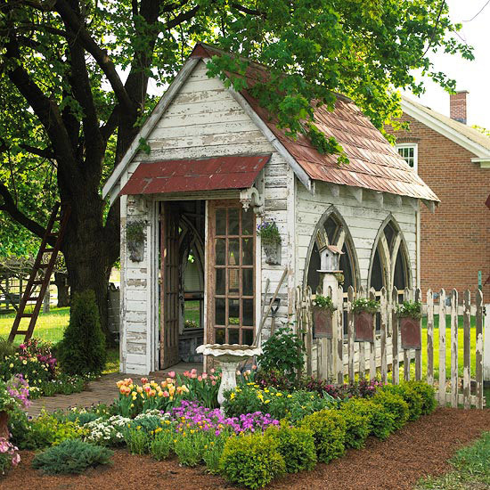 rustic shed with arched windows looks like a church