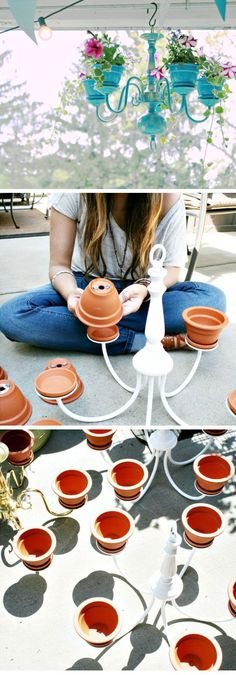 Beautiful pot plant chandelier ornaments to decorate your garden