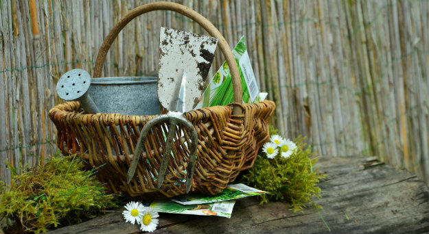 Basket of garden tools for odd jobs